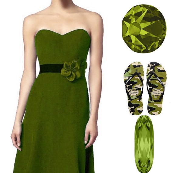Camouflage Havaianas Slim Black Olive Green flat Crystal Flip Flops w/ Swarovski Camo Military Army Beach Wedding Sandals Bling Custom Shoes