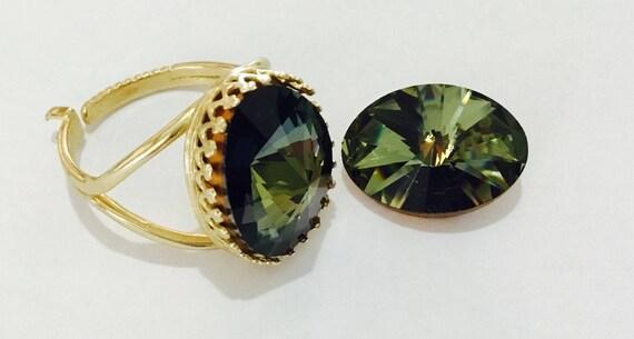 Finger Ring Bezel Vintage Swarovski Tabac Oval Green Brown Antique Silver plated or Gold Brass Adjustable Cocktail Crystal Jewel Ladies Gift
