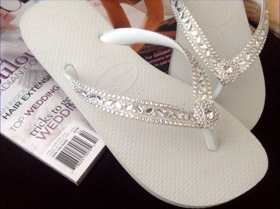 0f2e0180f ... White Wedding Flip Flops Glass Slippers Blushing Bride w  Swarovski  Crystal Rhinestone Bead Beach Bling