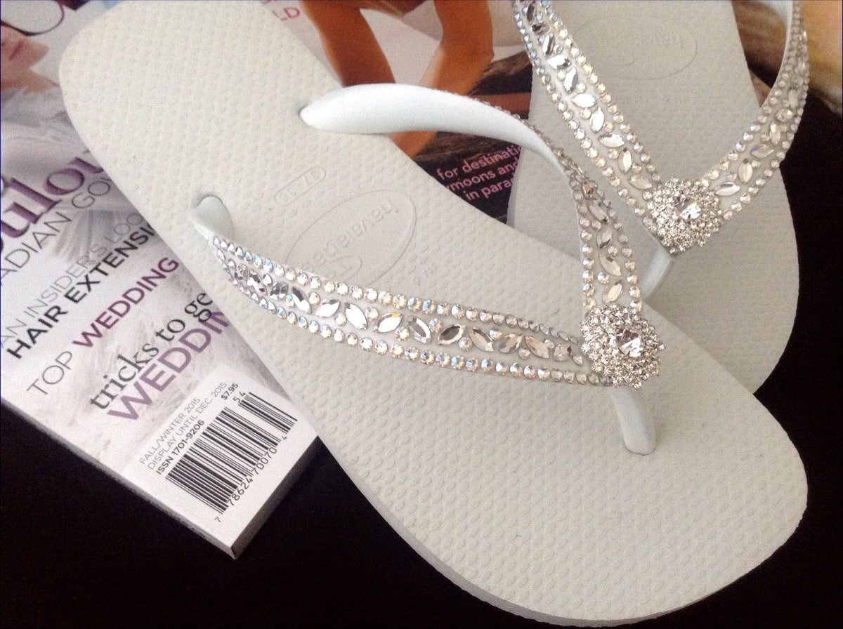 47784d0e9 White Wedding Flip Flops Glass Slippers Blushing Bride w  Swarovski Crystal  Rhinestone Bead Beach Bling Havaianas or Cariris Wedge Heel Shoe
