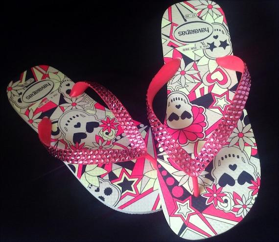 Skull Flip Flops Pink Crystal Glow in the Dark Custom Rose Bling w/ Swarovski Rhinestone Jewel Halloween GlassSlippers US 7/8 Sandals Shoes