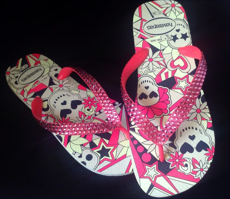 355106235d407 Skull Flip Flops Pink Crystal Glow in the Dark Custom Rose Bling w   Swarovski Rhinestone Jewel Halloween GlassSlippers US 7 8 Sandals Shoes
