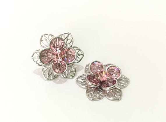 Silver Fused Floral Filigree Earrings Swarovski Crystal Rose Pink Rhinestone 22.5mm Titanium Post Flower Minimalist Stud Ladies Gift