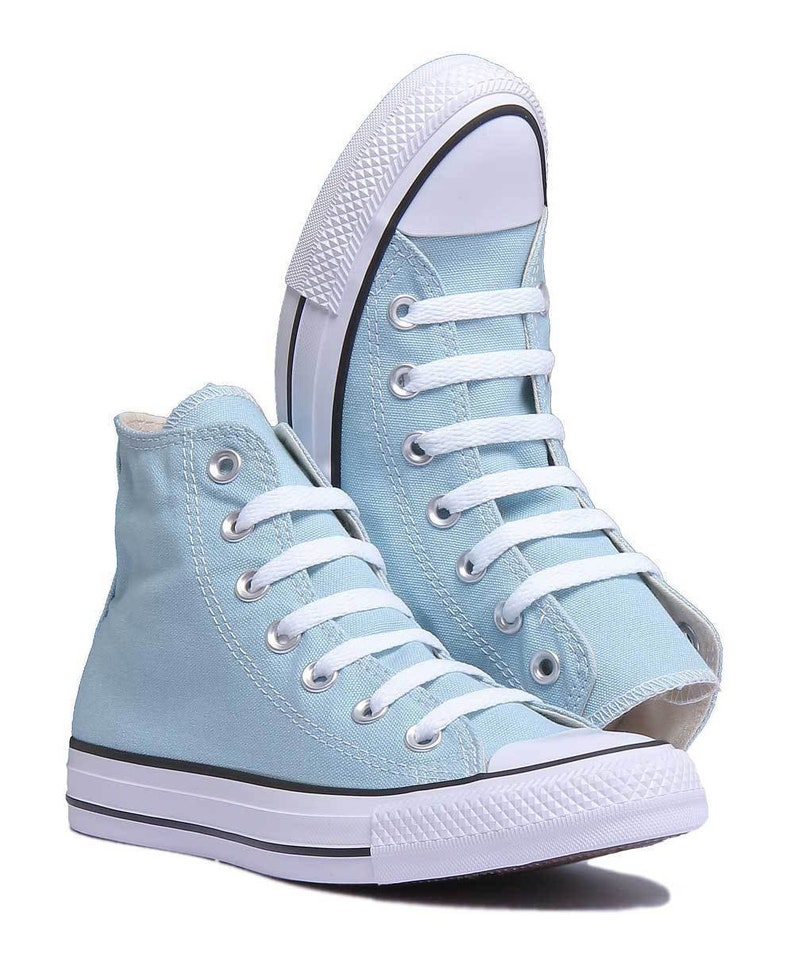 Baby Blue Converse High Top Wedding Ocean Bliss Bride Powderw  a53816341dad