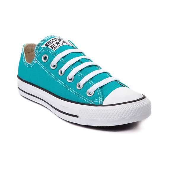 Turquoise Blue Converse Low Top Ladies Glass Slippers w/ Swarovski Crystal Rhinestone Teal Chuck Taylor All Star Bride Wedding Sneakers Shoe