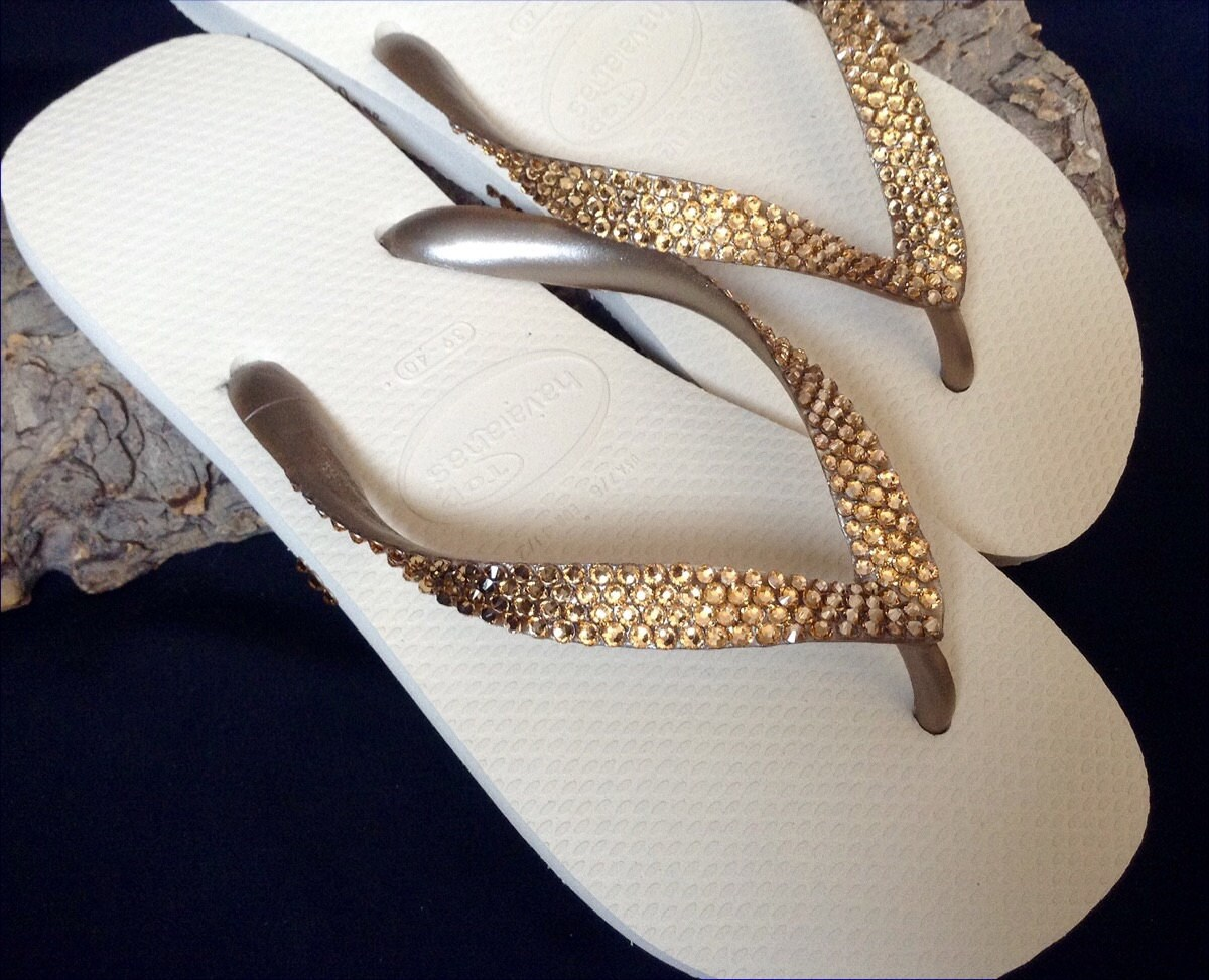 6d629678e123 Gold Havaianas Flip Flops Metallic Beige Ivory Cream Golden Tan Custom w  Swarovski  Crystal Bling Rhinestone Wedding Grad Prom Sandals Shoes