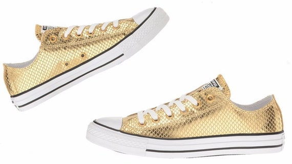 Gold Sparkle Converse Low Leather Snake