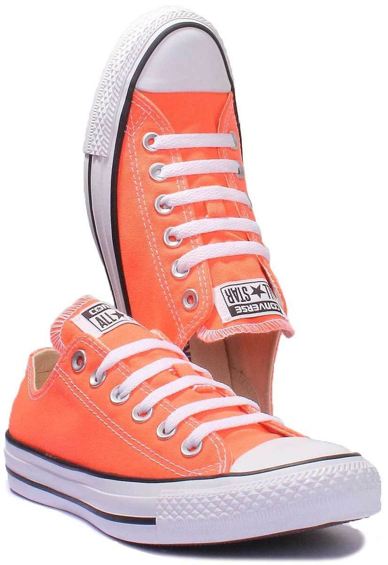 a5023e94ed51 Orange Converse Hyper Red Neon Canvas Low Top Wedding Kicks