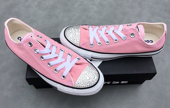 Pink Converse Low Top Daybreak Blush Coast Rose Bride Custom Canvas w/ Swarovski Crystal Chuck Taylor All Star Bling Wedding Sneakers Shoes