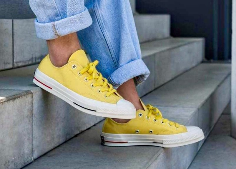 Canary Yellow Gold Converse 70s Premium Low Top Summer Custom w  Swarovski  Crystal Kicks Chuck Taylor All Star Bridal Wedding Sneakers Shoes f73861f42720