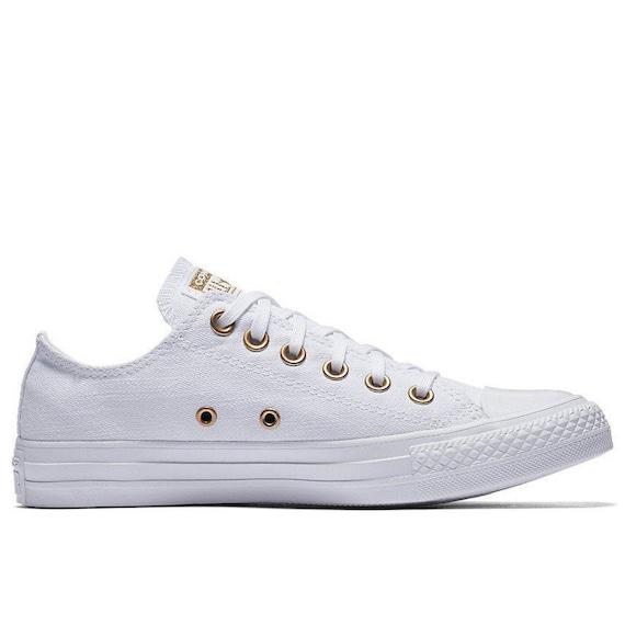 770b364fa254c White Converse Low Top Gold Brass Bride Bling Canvas Custom w/ Swarovski  Crystal Chuck Taylor Rhinestone All Star Wedding Sneakers Shoes