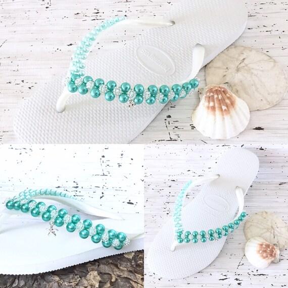 Aqua Turquoise Flip Flops Pearl Havaianas Slim Silver Starfish Bridal Crystal Roset sew on w/Swarovski Bride BridesMaid Beach Wedding shoe