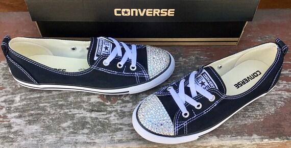 Black Converse Ballet White Low Top Slip Ons Lace Bride Bridal w/ Swarovski Crystal Chuck Taylor Rhinestones All Star Wedding Sneakers Shoes