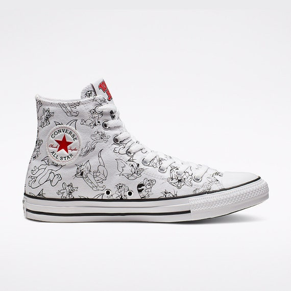 Tom & Jerry Converse High Top Retro Cartoon Mouse Cat w/ Swarovski Crystal Rhinestone Jewel Chuck Taylor Bling All Star school Sneaker Shoe