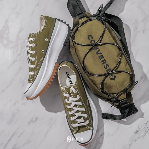 Converse Run Star Hike Low White Moss Green Platform Wedge Club Kick w/ Swarovski Crystal Rhinestone Chuck Taylor All Star Sneakers Shoes