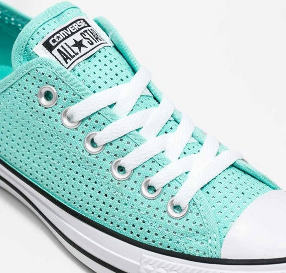 Aqua Converse Low Top Poolside Teal Turquoise Perf Air Condition Canvas w/ Swarovski Crystal Chuck Taylor All Star Wedding Sneakers Shoes