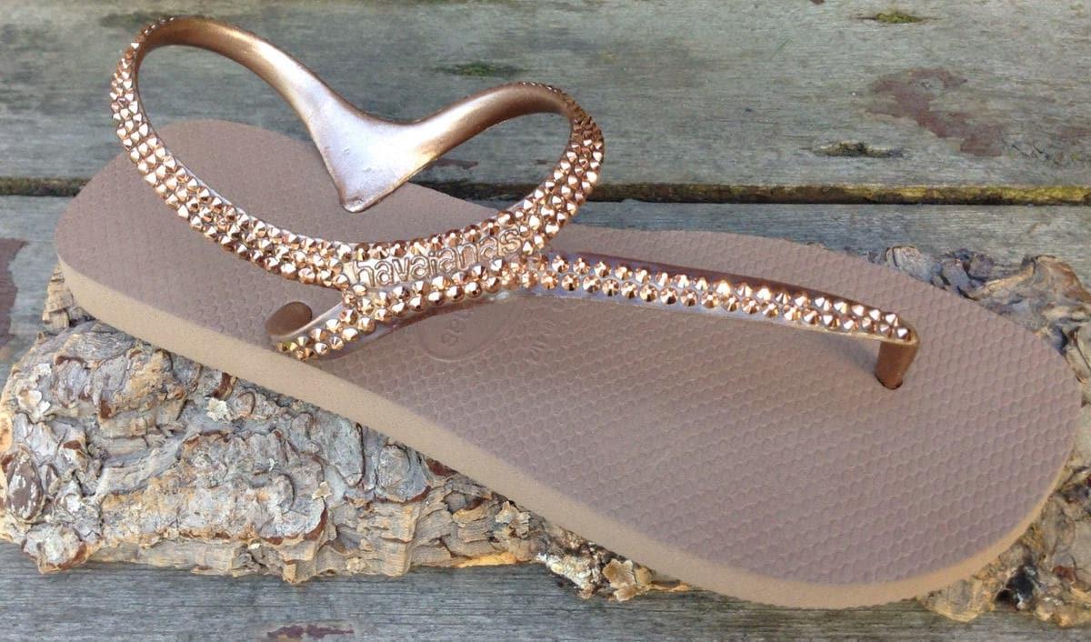 4f238d960904 Rose Gold Havaianas Flip Flops Crystal Metallic Gladiator Flash ankle strap  flat Custom Bling w  Swarovski Rhinestone Jewels Thongs Shoes