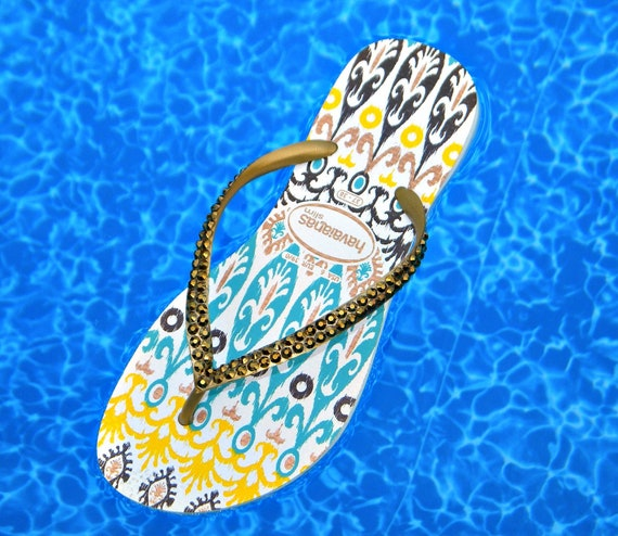 Havaianas Slim Flip Flops Teal Yellow Gold size US 6/7 w/ Swarovski Crystal Rhinestone Bling Jewel Ethnic Boho Australian Sandal Thong Shoes