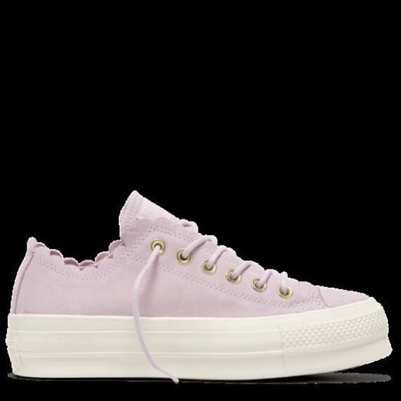 Pink Foam Converse Platform Ruffle Gold Frill Suede Leather  1395ac980