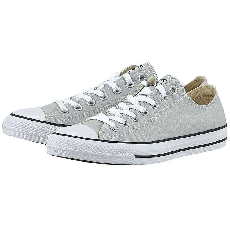 f7f59afec0e2 Gray Converse Low Top Mouse Grey Canvas Wedding Kicks Bling w