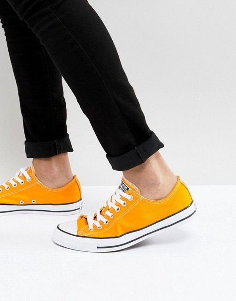 58c5085f5075 Orange Converse Low Top Yellow Sun Ray Canvas Custom Wedding