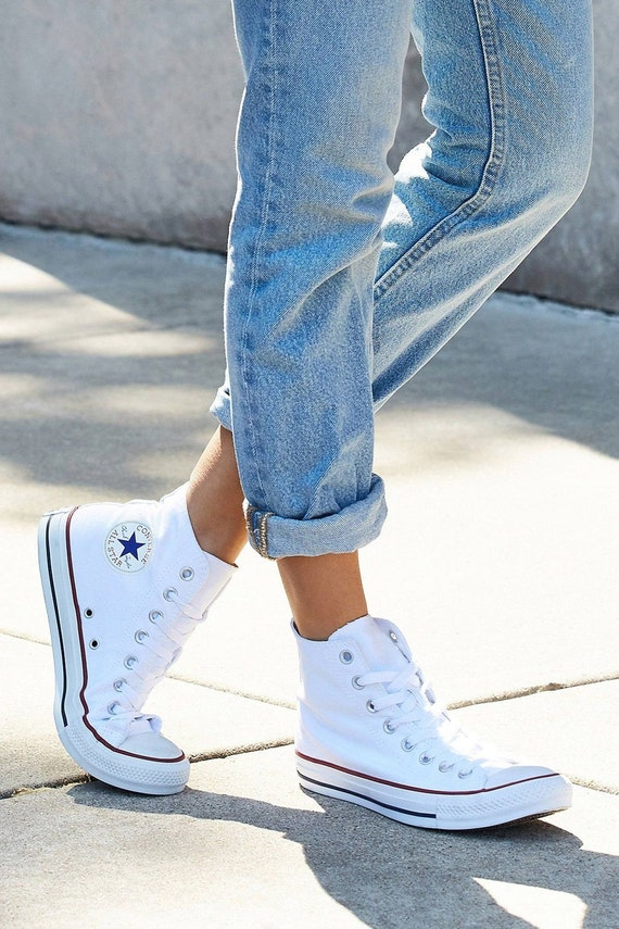 Dames blanche Converse haute Top  s mariage mariage mariage pantoufles de verre w / Swarovski strass Bling Chuck Taylor All Star Chaussures Sneakers mariée | Shop