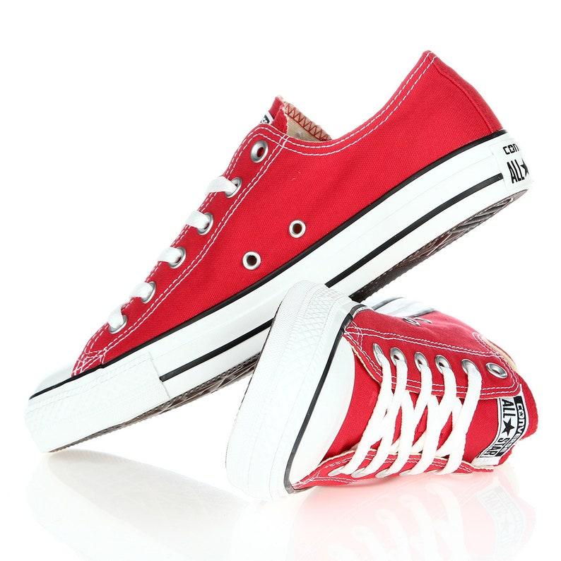 d7c270b5fbb8 Red Converse Low Top Classic Cherry Canvas Custom Kicks w