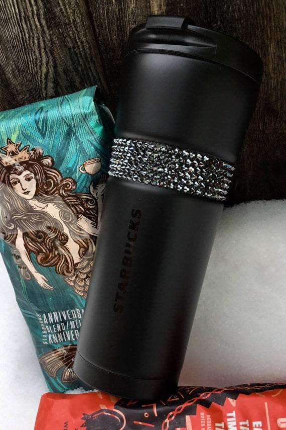 Starbucks Cup Stainless Steel Swag Matte Black w/ Swarovski Crystal 16 Grande Custom gift Travel Coffee Tea Tumbler Jet Hematite Rhinestones