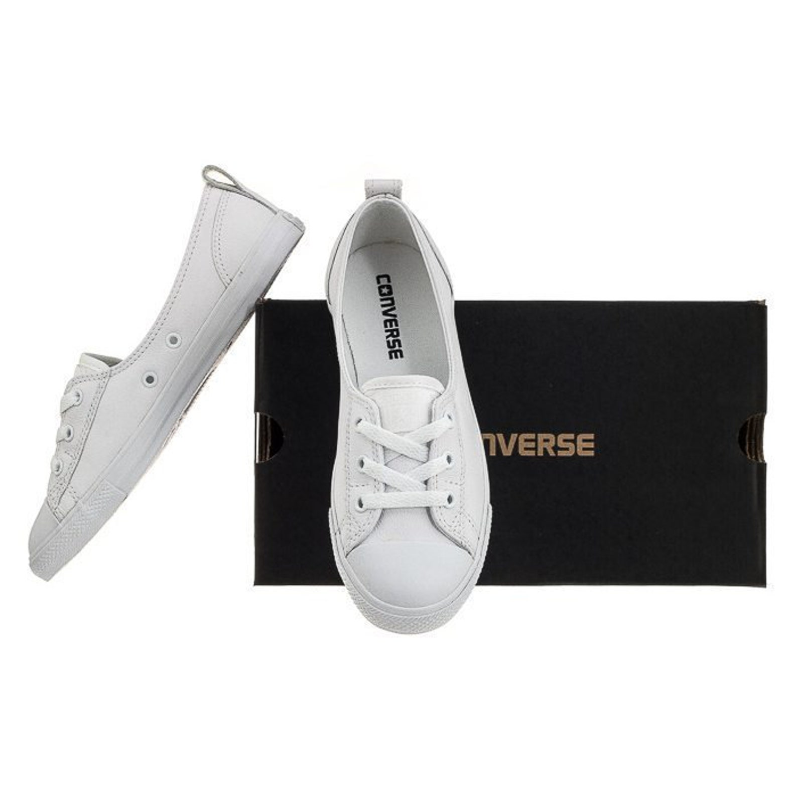 33d9e859d White Leather Converse Slip On Low Top Ballet Mono Lace Wedding Bridal  Shoes W/ Swarovski Crystal ...