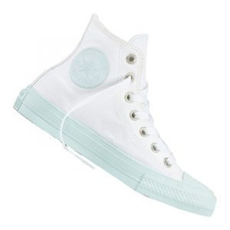 59a3dfefd95452 White Mint Converse High Top Fiberglass Aqua Custom Bling w
