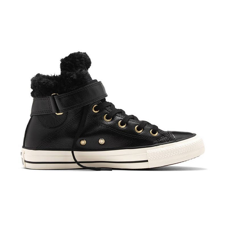 9e5806299ac1 Black Converse High Top Fur Leather Boot W US 8 w  Swarovski