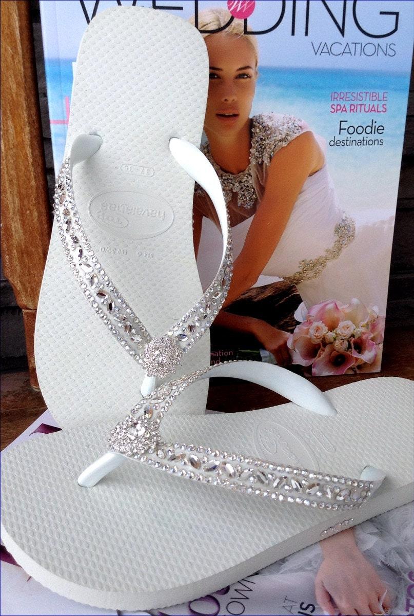 406116cf3af5d2 Custom Wedding Flip Flops Glass Slippers Blushing Bride Lotus w  Swarovski  Crystal Rhinestone Bead Beach Havaianas Cariris Wedge heel Shoe