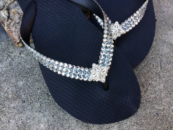 Silver Stud Glitter Rhinestone Look Flat Toe Ring Flip Flops Thongs Sandals