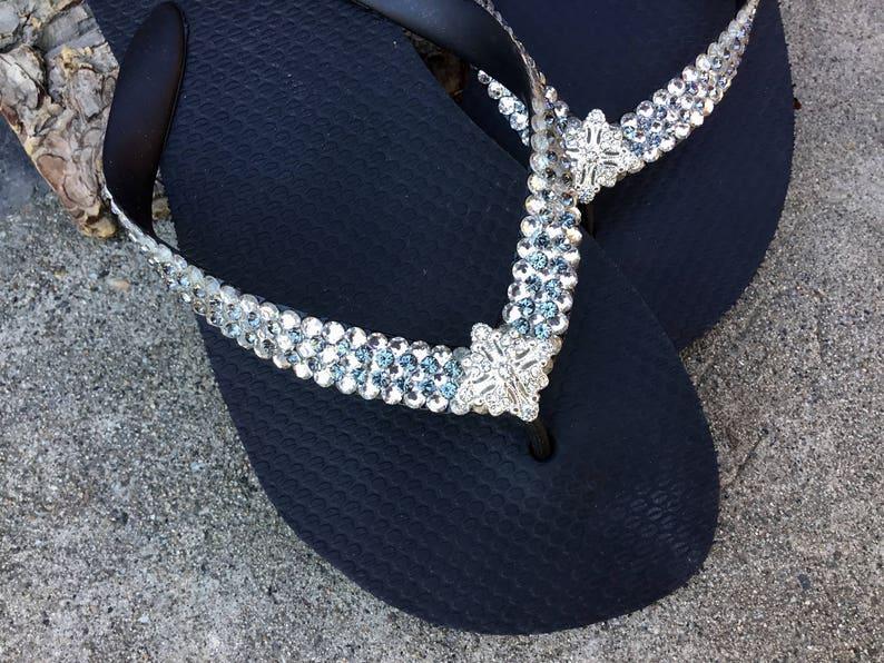 6beae444ec8bf Custom Flip Flops Super Bling Silver Jewel Havaianas Flat or Wedge 1.5  Heels w/ Gray Swarovski Crystal 3D Ice Cap Wedding Beach Bridal Shoes