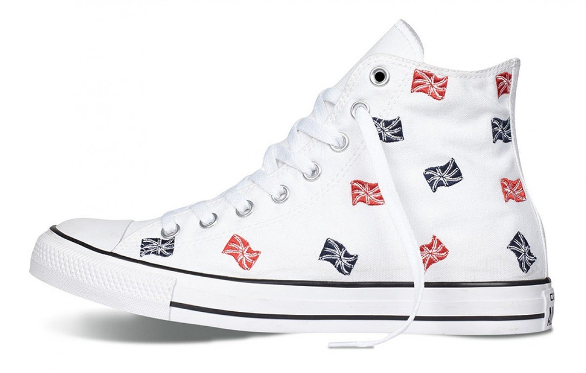 06c0908e111224 White Converse Union Jack Ladies Red White Blue Embroidery UK