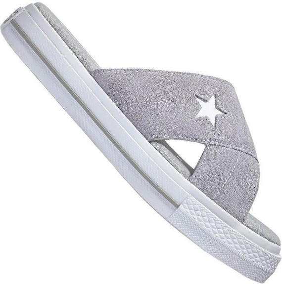 Silver Gray White Converse One Star Slide slip on Beach Flip Flops Slippers Custom Crystal w/ Swarovski Wedding Vacation Reception Shoes