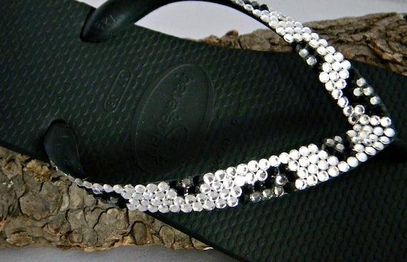 Snow Leopard Print Crystal flip flops Havaianas Flat or Cariris Wedge heel w/ Swarovski Rhinestone Custom Jungle Animal Bling Beach Shoes