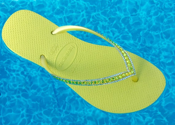 Yellow Havaianas flip flops Slim flat Custom Neon Citrine w/ Swarovski Crystal Rhinestone Jewels Sophisticate Beach Wedding Bridal flat Shoe
