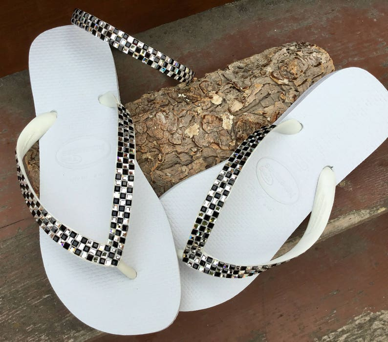 65ff34da2184 Custom Crystal Flip Flops Black White Geometric Square