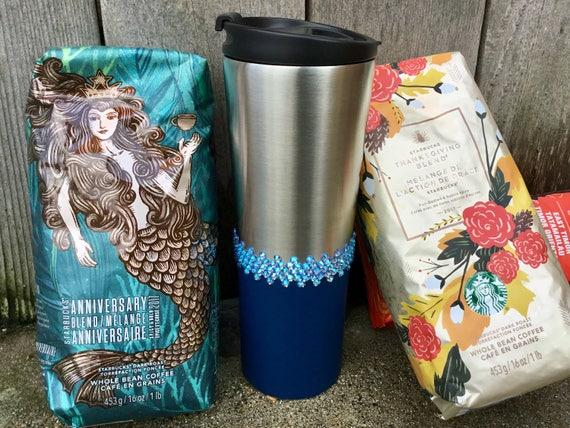 Blue Starbucks Cup Stainless Swag w/ Swarovski Lt Sapphire Shimmer Crystal 20oz Vente Christmas Travel Coffee Tea Mug Rhinestone To Go Gift