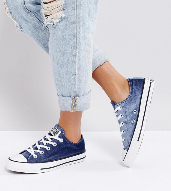 Blue Converse Velvet Midnight Navy Custom Chuck Taylor Low  2d30b49ea6