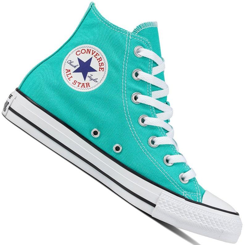 4af00fe7b5cc4 Aqua Blue Pure Teal Converse High Top Turquoise Bling Custom w/ Swarovski  Crystal Rhinestone Chuck Taylor All Star Wedding Sneakers Shoes