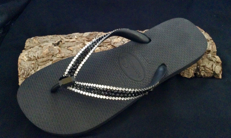 a1abfae4851f Black Crystal Flip Flops Custom Vintage Baguette Jewel Havaianas flat or  Cariris Wedge heels Platform w  Swarovski Rhinestones Sandals Shoes