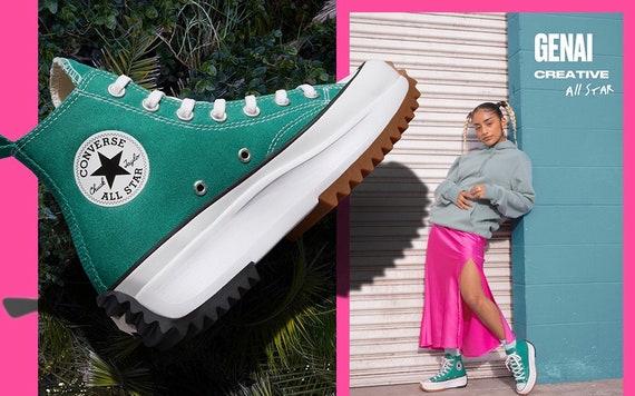 Crystal Converse Run Star Hike Court Green Boot Platform Wedge High Top Club Kicks w/ Swarovski Jewels Chuck Taylor All Star Sneakers Shoes