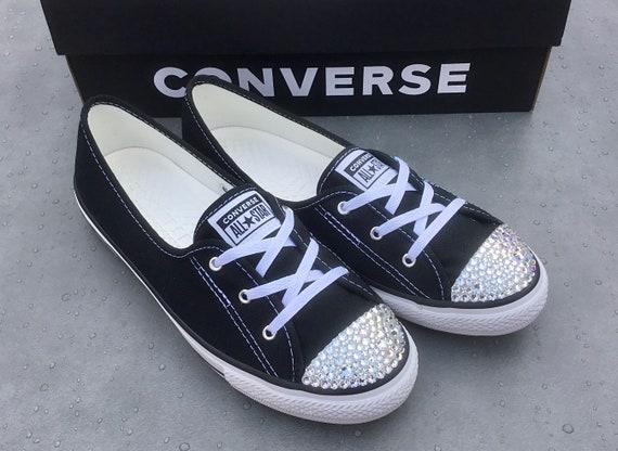 Black Converse Ballet Canvas Low Top Slip On Lace Bride Bridal w/ Swarovski Crystal Chuck Taylor Rhinestones All Star Wedding Sneakers Shoes