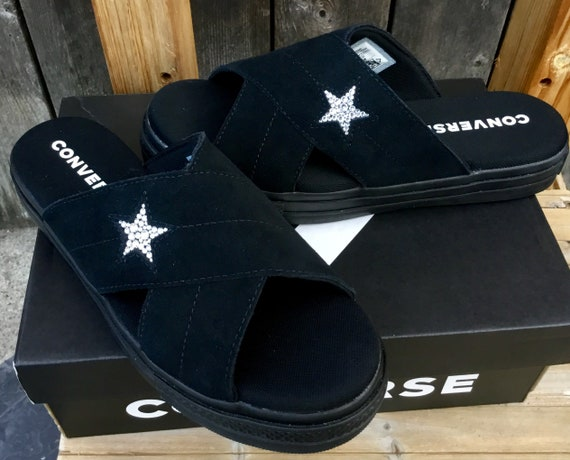 Black On Black Converse One Star Slide slip on Beach Flip Flops Slippers Custom Crystal w/ Swarovski Jewels Wedding Vacation Reception Shoes