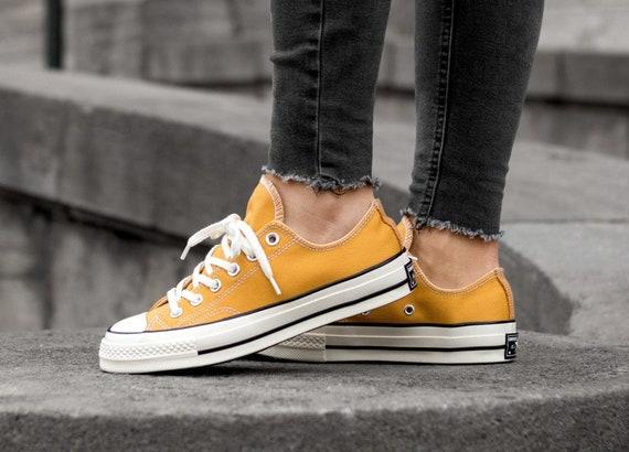 Yellow Gold Converse 70s Low Tops Sunflower Mustard Kicks w Swarovski Crystal Rhinestone Chuck Taylor All Star Bridal Wedding Sneakers Shoe