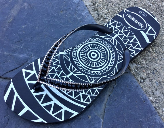 Jet Black Flip Flops Custom Tribal Medallion Havaianas Slim w/ Swarovski Bling Crystal Glass Slippers Rhinestone Sandals Beach Wedding Shoes