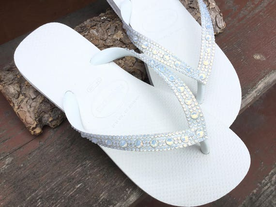 White Opal Crystal Wedding Flip Flops Full Moon Bling Havaianas or Cariris Wedge Heels w/ Swarovski Rhinestones Beach Bride Reception Shoes