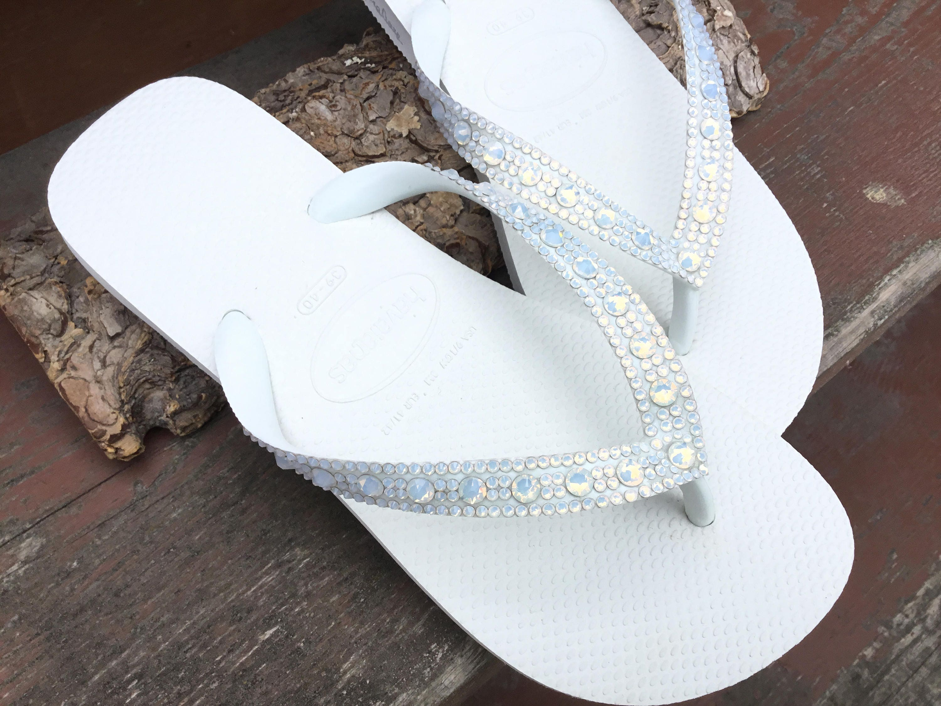 f94b58bf1 White Opal Crystal Wedding Flip Flops Full Moon Bling Havaianas or Cariris  Wedge Heels w  Swarovski Rhinestones Beach Bride Reception Shoes